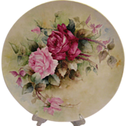 "Gorgeous LARGE 16"" ROMANTIC TEA ROSES Antique Limoges French Hand Painted Victorian Canvas Art Plaque Tray Charger  circa 1891 - 1932"