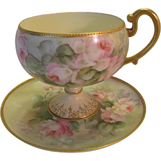Elegant Antique Footed Willets Belleek Cup And Saucer ~ Beautiful Rare Mold ~ Hand Painted Roses ~ Vintage Victorian Floral Art China Painting Artwork ~ Old European Porcelain 19th Century ~ Artist Signed, Circa 1900