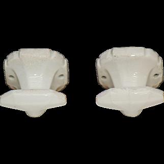 Pair of ceramic hardware hooks