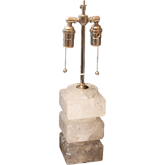Square rock crystal Art Deco style table lamp