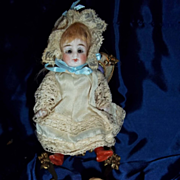 """4.5"""" All Bisque with original wig and sleep eyes"""