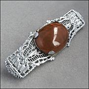 Lacy Art Deco Carnelian Filigree Bar Pin Brooch