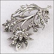 Vintage Sterling Silver, Marcasite Floral Brooch Pin