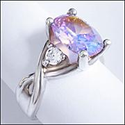 Colorful Sterling Silver, Cushion Cut Rhinestone Finger Ring