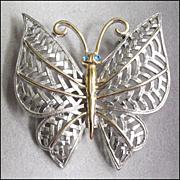 Pretty Butterfly Brooch Pin, Blue Rhinestone, Two Tone, Avon