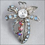 Vintage Rhinestone Brooch Pin, Rivoli, Aurora Borealis, White, Blue