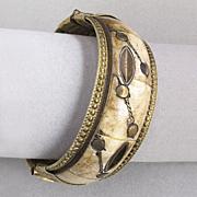 Vintage Chunky Bone, Brass Inlay Hinged Bangle Bracelet