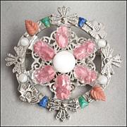 Large Vintage Signed Art Glass Multicolor Brooch Pin