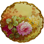 LR & L - Limoges - France - Plaque - Charger - Wall Art - Hand Painted - Roses - Gilded Rococo Border - Artist Signed - Only Fine Lines