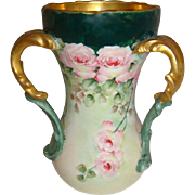 T&V - Limoges - France - 3 Handle - Loving Cup - Vase - Hand Painted - Romantic Floral Bouquet - Pink Sweetheart Roses - Coin Gold Accents - Turn-of-the-Century - Only Fine Lines