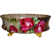 T&V - Limoges -French - Ferner - Jardiniere - Vase - Hand Painted - Romantic Victorian Bouquet - Crimson Tea Roses - Antique French Beauty - Circa 1896 - Only Fine Lines