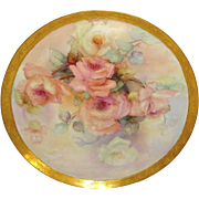 """Magnificent - Antique - Limoges - France - 16"""" - Porcelain Charger - Tray - Large Romantic Sweetheart Roses - Radiant Gold Embossed Border - Artist Signed - Dated '03 - Only Fine Lines"""