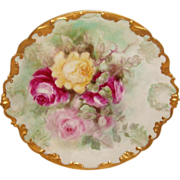 Stellar - Antique - GDA - Limoges - France - Charger - Hand Painted - Roses - Rococo Border - Artist Signed - Dated 1906 - Only Fine Lines