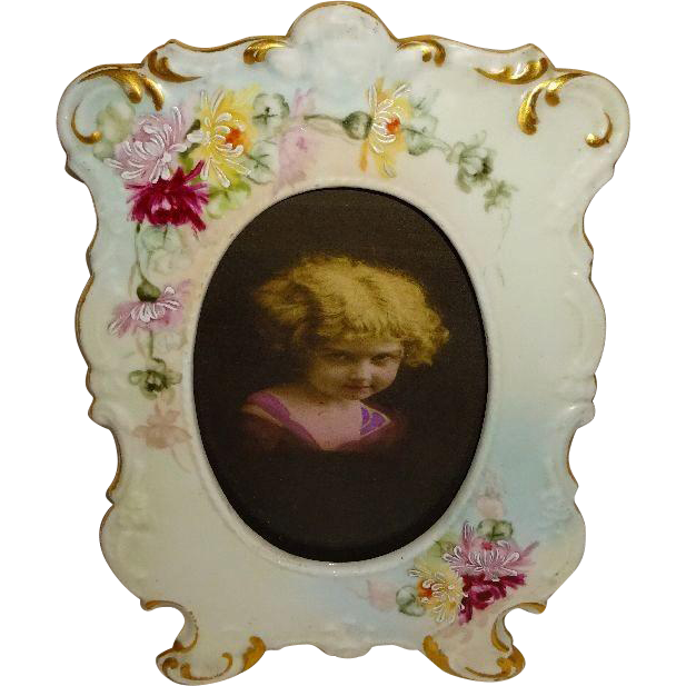 D&C - Limoges - France - Porcelain - Picture - Photo - Frame - Hand Painted - Spider Chrysanthemums - Turn-of-the-Century - Only Fine Lines