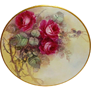 STUNNING - Limoges - France - Plate - Hand Painted - Victorian Style Bouquet - Pink Roses - Artist Signed - One-of-a-Kind - Museum Quality - Only Fine Lines