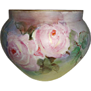 T&V - Limoges - France - Jardiniere - Vase - Hand Painted - ROSES - Coin Gold Accents - Circa 1907 - Museum Quality - Only Fine Lines