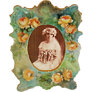 T&V - Limoges - France - Porcelain - Picture - Photo - Frame - Hand Painted -  Romantic Victorian Bouquets - Buttery Yellow - Tea Roses - Artist Signed - Dated 1910 - Only Fine Lines