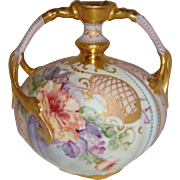 "Limoges - Vase - Roses - Ornate Gilded Design - Duel Handles - ""Jewels"" - Museum Quality - Only Fine Lines"