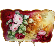Porcelain - Vanity -Tray - Hand Painted - Romantic - Victorian Style - Rose Bouquets - Artist Signed - Dated '04 - Excellent Condition - Only Fine Lines