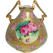 Stunning - Nippon - Japan - 2 Handle - Vase - Romantic Bouquets - Tea Roses - Moriage Jewels - Work-of-Art - Only Fine Lines