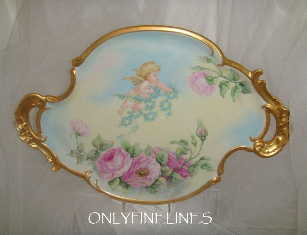 T&V - Limoges - Tray - Hand Painted - Pink Roses - Chubby Cherub - Ornate Handles - Circa 1898 - Only Fine Lines