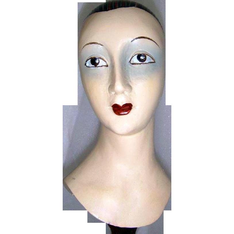 Vintage - Ladies - Hand Carved - Wood - Hat Stand Display - Sculptured - Mannequin Bust - Only Fine Lines