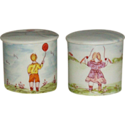 Limoges - France - Fun - Whimsical - Hand Painted - Scenic - Figural - Porcelain - Vanity - Jars - Turn-of-the-Century - Only Fine Lines