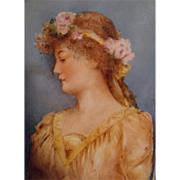 Magnificent - William Guerin - Limoges - Hand Painted - Portrait - Plaque - Tile - Framed - Artist Signed - One-of-a-Kind - Museum Quality - Only Fine Lines