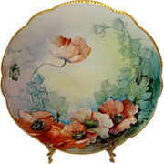 Beautiful - Antique - Limoges - France - Plate - Hand Painted - Poppies - Coin Gold - Beaded Scalloped Rim - French Heirloom - Only Fine Lines