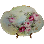 Beautiful - Antique - Austria - Austrian - Tray - Hand Painted - Sweetheart Roses - Gold Scalloped Rim - Artist Signed - Dated 08 - One-of-a-Kind - Museum Quality - Only Fine Lines