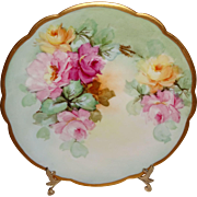 Stunning - D&C - Limoges - France - Plate - Hand Painted - Multicolored - Sweetheart Roses - Radiant Gold Scalloped Rim - Circa 1900 - Pristine - Treasured Heirloom from Only Fine Lines