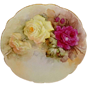 D&C Limoges France Antique Porcelain Plate with Hand Painted Sweetheart Roses - Artist Signed - Dated 1904 - One-of-A-Kind - Museum Quality - An Heirloom Treasure - Only Fine Lines