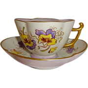 Lovely - Antique - T&V - Limoges - France - Tea Cup - Elaborate Matching Saucer - Hand Painted - Delicate Pansy Bouquet - Artist Signed - Dated 1886 - Coin Gold Highlights - Treasured Heirloom - Only Fine Lines