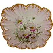 Breathtaking - Antique - Limoges - France - Plate - Hand Painted - Feminine Victorian Bouquet - Large Pink Chinese Poppies - Gold Ruffle Border - Artist Signed Masterpiece - Dated 1892 - One-of-a-Kind - Only Fine Lines