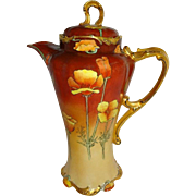 FABULOUS - Limoges - France - Chocolate - Coco - Tea Pot - Hand Painted Victorian Style Bouquet - Tangerine Orange - Chinese Poppies - Only Fine Lines