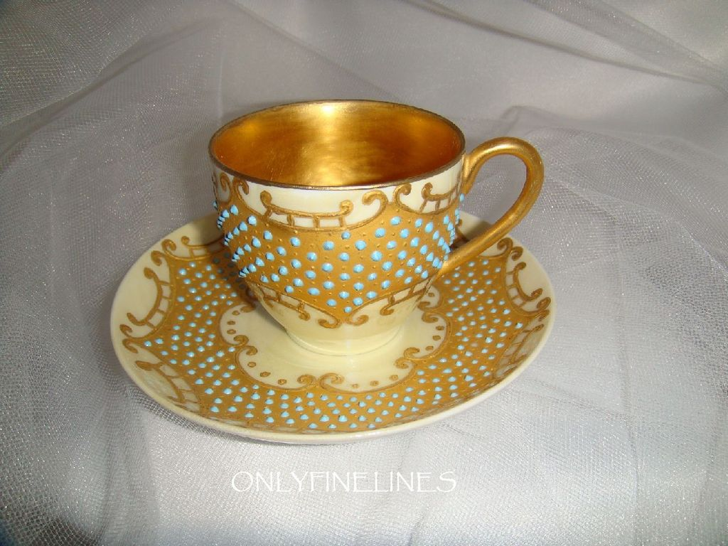 Beautiful - D&C - Limoges - France - Cup - Saucer - Hand Painted - Gilded Design - Enamel Jewels - Circa 1900 - Only Fine Lines
