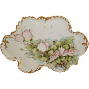 "Magnificent - 18"" - Limoges - France - Tray - Hand Painted - Romantic Bouquet - Pink Roses - Artist Signed - One-of-a-Kind - Circa 1896 - Only Fine Lines"