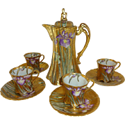Nippon - Japan - Gold Encrusted - Chocolate - Coco - Pot  - 4  Matching Cups  with 4 Matching Saucers - Expertly Hand Painted - Iris - Gold Beads - Circa 1921 - Vintage Japanese Heirloom - Only Fine Lines