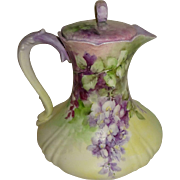 Stunning - Limoges - France - Chocolate Pot - Hand Painted - Romantic  - Lavender - LILACS - Museum Quality - Only Fine Lines