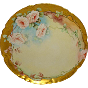 Haviland & Co. - Limoges - France - Plate - Hand Painted - Romantic- Victorian Style - Bouquets - Pink Tea Roses - Pristine - Only Fine Lines