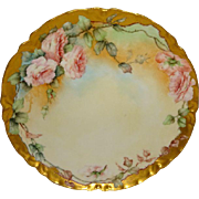 Lovely - Haviland - Limoges - France - Plate - Hand Painted - Romantic Bouquet - Pink Tea Roses - Only Fine Lines