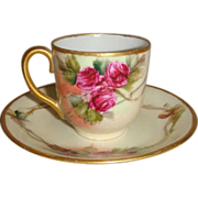 Charming - Austria - Austrian - Tea - Cup - Saucer - Hand Painted - Crimson Roses - Gold Accents - Only Fine Lines