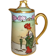 D&C - Limoges - France - Hand Painted - Antique - Scenic - Tea - Pot - RARE!