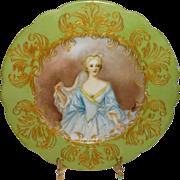 Antique - William Guerin - Limoges - France - Hand Painted - Portrait Plate - Elisabeth de Bourbon - Duchess of Nemours - Artist Signed - One-of-a-Kind - Circa 1900 - Only Fine Lines