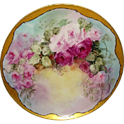 BEAUTIFUL - Haviland - Limoges - France - Plate - Hand Painted - Pink Tea Roses - Signed Jennings - Circa 1931 - Only Fine Lines
