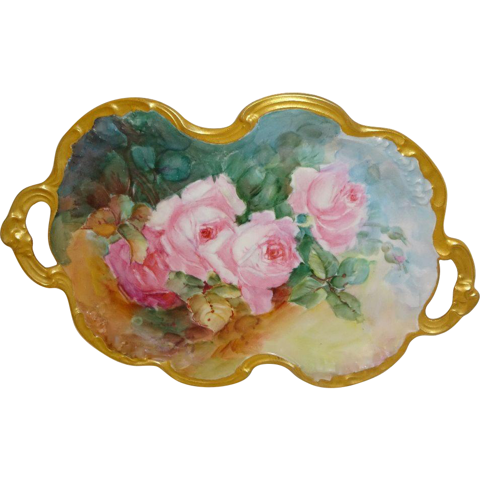 JPL - Limoges - France - Dual Handle - Tray - Hand Painted - Romantic  Bouquets - Pink Tea Roses - Pristine Condition - Only Fine Lines