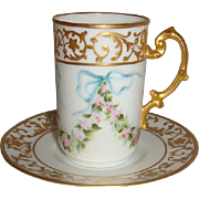 Charming - JPL - Limoges- France - Cup & Saucer - Hand Painted - Romantic Roses - Powder Blue Ribbons - Artist Signed - A.H.Frye - Museum Quality - Only Fine Lines