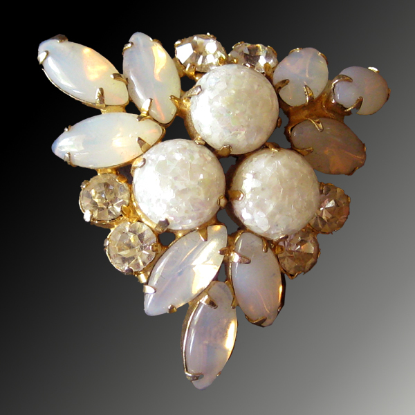Rhinestone, Moonstone and Glitter Vintage Brooch - Brides White