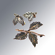 Sterling and Marcasite Figural Leaf Brooch and Earring Set Signed Germany