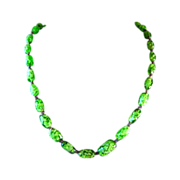 Green Art Glass Necklace Vintage Jewelry